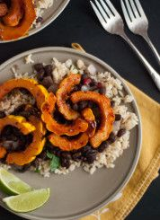 chipotle glazed squash with cilantro lime rice & refried black beans