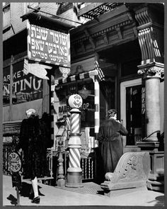 Jewish barber shop, 188 Delancey Street, Lower East Side, 1940. Photo said possibly Orchard Street. Photo by Andreas Feininger.