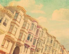 """architecture photo """"sweet San Francisco"""". california travel, pink blue pastels, candy color houses in a row urban summer vacation - 24x36, via Etsy."""