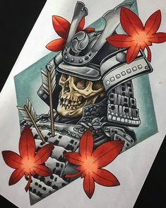 Fallen Samurai, Prismacolor pencil on Japanese Tattoos For Men, Japanese Tattoo Designs, Japanese Tattoo Art, Japanese Sleeve Tattoos, Japanese Art, Japanese Prints, Skull Tattoos, Body Art Tattoos, Granate Tattoo