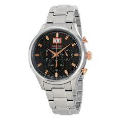 Seiko Mens SPC151 Quartz Chronograph Black Dial Stainless Steel Watch