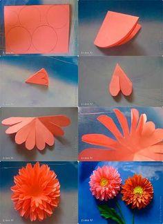 How-to-make-paper-dahlias More - Flores How To Make Paper Flowers, Tissue Paper Flowers, Origami Flowers, Paper Roses, Felt Flowers, Diy Flowers, Fabric Flowers, Sugar Flowers, Paper Dahlia