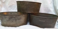 Antique Kitchen Items Kreamer Set 3 Metal Bread Cake Ice Cream Molds Pans Tins