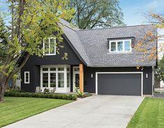exterior paint color: Black Jack 2133-20; garage door and dark trim: French Beret 1610; white trim: Decorator White.  All by Benjamin Moore.  Charlie & Co. Design, Ltd.