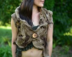 Felt Pixie Vest-Woodland Costume-Forest Top- Nymph Top-Druid Costume-Tree Top-Tree Costume-Pixie Vest-Tree Roots-Wool Vest-Seamless VestOOAK