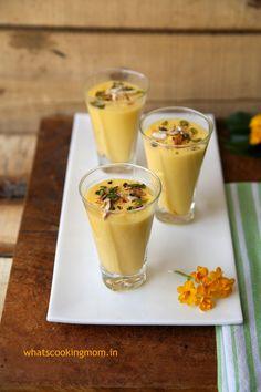 Mango shrekhand/amrakhand - Yoghurt flavoured with mango flavor Mango Desserts, Mango Recipes, Healthy Desserts, Sweet Recipes, Vegan Recipes, Snack Recipes, Dessert Recipes, Snacks, Eggless Desserts