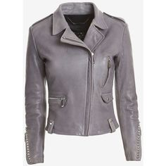 Barbara Bui Studded Leather Moto Jacket: Grey (48,475 PHP) ❤ liked on Polyvore featuring outerwear, jackets, coats, leather jackets, grey, leather motorcycle jacket, leather biker jackets, rocker leather jacket, grey moto jacket and moto jackets
