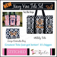 Navy Blue Vine Tote, Large Utility Tote, Nurse's Tote, Diaper Bag, Monogrammed by StitchedInStyle1 on Etsy
