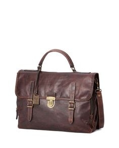 Logan Buckled Briefcase, Dark Brown by Frye at Neiman Marcus.