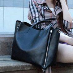 Leather Tote Bag-Shopper-laptop-Ipad-MacBook-Camera-Commuter Bag in bag side zipper