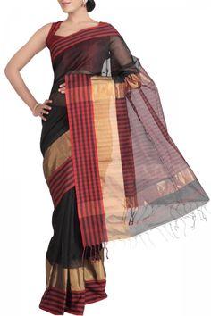 Black & Zari Cotton Silk Maheshwari Saree. India's Best Ethnic Wears & Wares. Shop Online at www.ethnickart.com