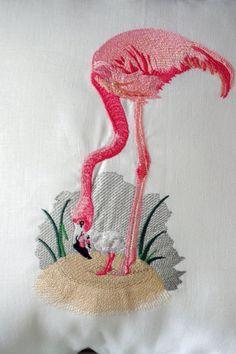 White Linen Flamingo and Baby Flamingo by ByTheSeashoreDecor