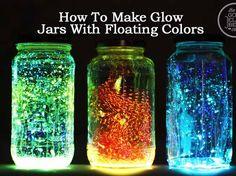 How To Make Glow Jars With Floating Colors, Tulle is the key! No, tulle just clumped down at the bottom.  Maybe it wasn't a strong enough type.  I'm going with glow-in-the-dark paint next time.