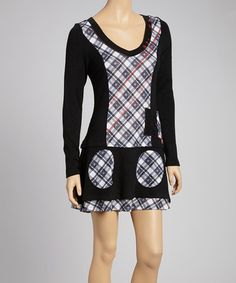 Take a look at this Black Plaid Patch Tunic Dress by Fantazia on #zulily today! $68 !!