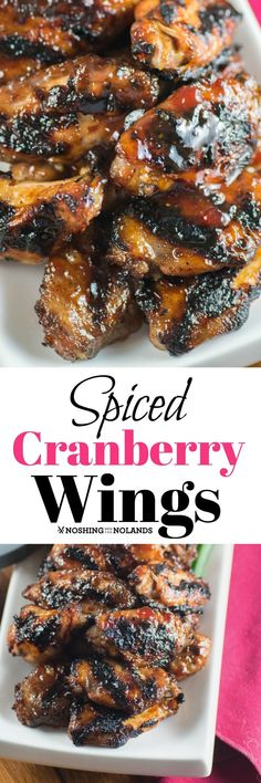 Spiced Cranberry Wings by Noshing With The Nolands is from Char-Broil's Great Book of Grilling and simply delicious with easy to find ingredients! #ad #wings #BBQ #Charbroil