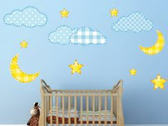 Clouds Stars and Moons Vinyl Nursery Wall Decal FREE SHIPPING by WallJems.