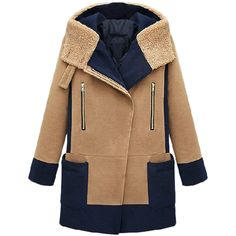 Khaki Chic Womens Winter Color Block Turndown Collar Hooded Over Coat (2 190 UAH) ❤ liked on Polyvore featuring outerwear, coats, jackets, khaki, beige coat, khaki coat, hooded coat, hooded overcoat and over coat