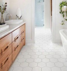 White Marble Hexagon Tile with Grout carrera marble hexagon floor tile white ce Hexagon Tile Bathroom Floor, White Bathroom Tiles, Hall Bathroom, Hex Tile, Tile Floor Kitchen, Glass Tile Bathroom, Best Bathroom Flooring, Marble Bathroom Floor, Tile Bathrooms