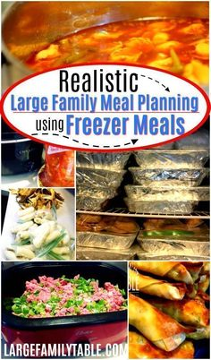 Realistic large family meal planning using freezer meals! Having meals planned ahead of time makes mom life a lot easier! Check out these delicious meals and let me help you get organized by meal planning with freezer meals. Budget Freezer Meals, Freezer Cooking, Frugal Meals, Budget Dinners, Bulk Cooking, Cheap Dinners, Batch Cooking, Slow Cooking, Healthy Recipes On A Budget