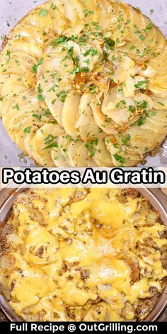 Potatoes Au Gratin is a really simple side dish to make on the grill or bake in the oven. Layers of thin sliced potatoes with butter, herbs and spices and cheese. We skip the cream for a lighter potato casserole that compliments any meal on the grill. It's a great addition to holiday dinners and any special occasion.