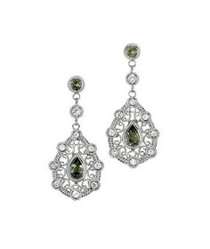 18K White Gold Sapphires Earrings from Goldsmith Jewelers.