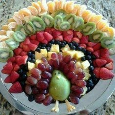 TURKEY Appetizer-  looks like this is orange wedges, kiwifruit slices, halved strawberries, blueberries, pieces of pineapple, red grapes, half of a pear with a pineapple beak and feet.