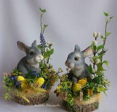 Купить Пасхальная композиция на спиле - Пасха, желтый, зеленый, пасхальный сувенир, пасхальный заяц