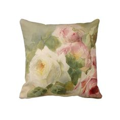 Vintage Victorian Rose Watercolor Pillows #pillows #rose #watercolor #rose