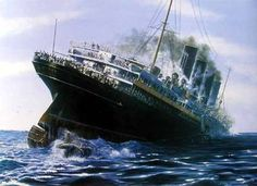 May RMS Lusitania, enrute from New York to England was torpedoed and sunk by the German Submarine Sequel to my USS Indianapolis Video Titanic Underwater, German Submarines, Abandoned Ships, Water Me, Sea Waves, World War One, Shipwreck, Sailing Ships, Poster
