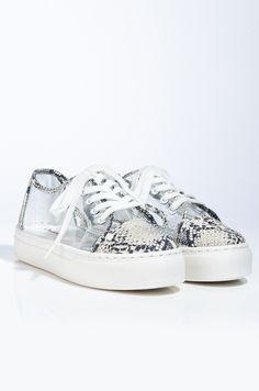 AKIRA Snakeskin PVC Lace Up Flatform Sneaker In Snake Flatform Sneakers, Boy Bye, Your Shoes, Akira, Snug Fit, Snake Skin, Barefoot, Lace Up, Slip On