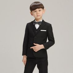 H1040 Children Formal Navy Black Blazer Prom Wedding Boys Suits 4pcs Leisure Jacket Vest Trousers Bow Tie Set Kids Clothes 2 Colors by HHCbridal on Etsy