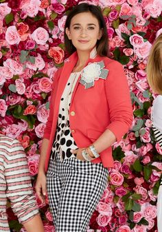 "O has again partnered with Talbots on a capsule collection that benefits a great cause: Dress for Success. Sas Goldberg said of this bright spring look, """"I've always wanted to be a girl who wears accessories, but it's not in my DNA. So it's nice to see how easy it is to just put on a brooch and give your outfit extra va-va-voom.""  Cardigan, $89.50, flower pin, $29.50, and bangles, from $34.50 each, O, The Oprah Magazine Collection for Talbots. Blazer, $159, and pants, $109, Talbots."