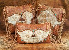 Western leather pillow fur home decor by stargazermercantile