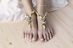 Beaded Barefoot Sandals Hippie Bare Foot Sandles by ElvishThings, $23.00