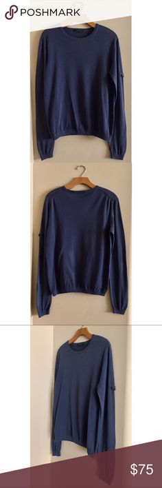 Genuine Prada Men's Pullover Men's size 50  Genuine Prada  Authentic!  A few imperfections at the front of sweater (pictured), but had professionally mended, and it's really not all that noticeable   Well worn, but still a beautiful Prada piece! Prada Sweaters Crewneck