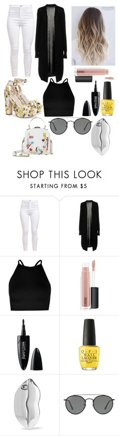 """Sin título #138"" by michelleav ❤ liked on Polyvore featuring Fabrizio Del Carlo, Boohoo, MAC Cosmetics, Maybelline, OPI, STELLA McCARTNEY and Ray-Ban"