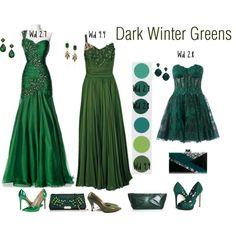 Dark Winter Greens by lizzycb on Polyvore featuring Zuhair Murad, Badgley Mischka, Nine West, Edie Parker, Burberry, Jil Sander, ASOS, Blu Bijoux and Lulu Frost
