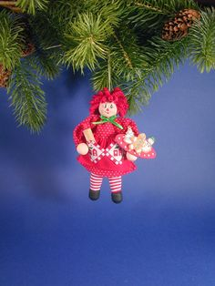 Christmas Raggedy Ann Clothespin Ornament by clotheslinecuties