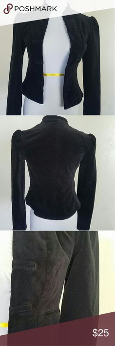 BCBG Max Azria Velvet Military Style Fitted Jacket Black velvet military fitted jacket fully lined in size XS.  Front hook and eye closure. BCBG Jackets & Coats Blazers