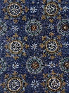 Blue Byzantine mosaic representing the night sky, the Mausoleum of Galla Placidia, Ravenna, Italy. 5th century CE