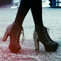 Studded ankle boot heels