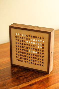 I built this word clock for my brother and his wife. It has a special feature that activates on their birthdays. - Imgur