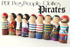 Making peg people just got easier! Simply print, cut and paste to add fun pirate clothes to wooden peg people. Customize by painting a bandanna,