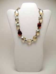 Champagne Colored Crystal Beaded Necklace Copper by ABeadifulDay, $90.00