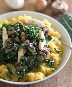 This is one Paleo, gluten-free meal that doesn't involve one ounce of deprivation. The key? Low-calorie yet flavor-rich ingredients like garlic, mushrooms, and kale.