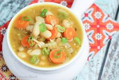 My Vegetarian White Bean Soup simmers all day in the Crock Pot. The result is a simple, healthy and delicious meal for any day of the week. Hi friends! Happy Tuesday! I know it is officially spri…