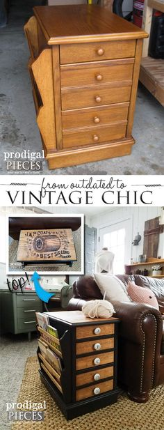 Diy Furniture : Outdated Side Table Gets a Vintage Chic Makeover Complete with Typography for Se. Refurbished Furniture, Repurposed Furniture, Shabby Chic Furniture, Furniture Makeover, Painted Furniture, Diy Sewing Table, Diy Table, Furniture Projects, Home Furniture