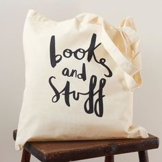 Books and Stuff tote bag screenprinted canvas by OldEnglishCo, £13.00