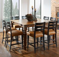 Champlain - Custom Dining Customizable Square Counter Table Set by Canadel at Becker Furniture World Craftsman Chairs, Craftsman Dining Room, Craftsman Style Furniture, Dining Room Hutch, Dinning Room Tables, Modern Bedroom Furniture, Couch Furniture, Furniture Styles, Dining Room Furniture