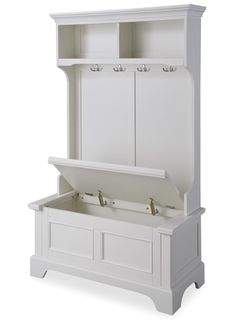 This Home Styles Naples White Hall Tree provides ample storage and organization with two open storage shelves and four double storage hooks. White Hall Tree, Hall Tree Bench, Hall Trees, Entryway Bench, White Hallway Furniture, Foyer, Hallway Storage Bench, Entryway Hall Tree, Entryway Cabinet
